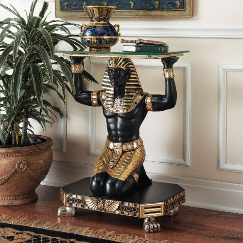 Cheap Ancient Egyptian King Tut Messenger Glass Console Hallway Foyer Table (NE8672)