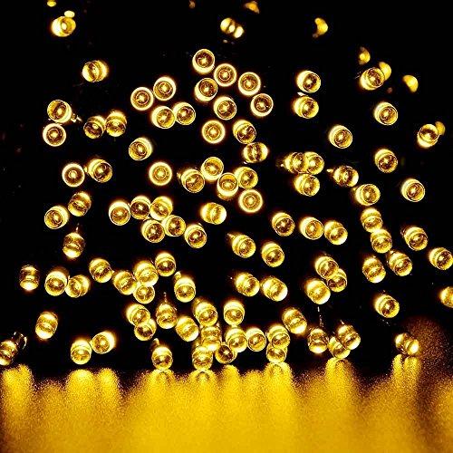 lederTEK energia solare impermeabile leggiadramente luci stringa di 22m 200 LED 8 modi di Natale lampada decorativa per all'aperto, giardino, casa, Matrimonio, Albero di Natale Capodanno Party (200 LED Bianco Caldo)