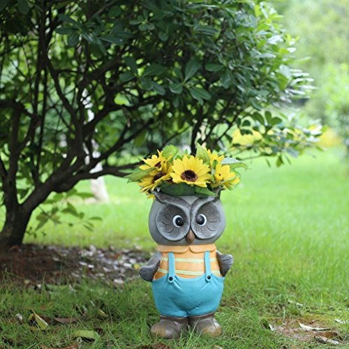 Garden Gnomes Statues and Figurines Head Planters, Blue Owl Flower Pots Outdoor Holiday Decorations, Black Friday Sale 2016