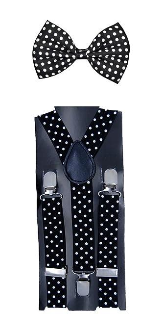 """Kids Children Babies """"Black"""" Polkadot Suspender & Bow tie Set"""