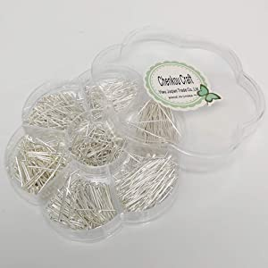 Chenkou Craft 700pcs Assorted of 7 Sizes Mix Flat Head Pins for Jewelry Making (Silver, Mix) (Color: Silver, Tamaño: Mix)