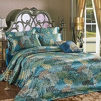 Review Fadfay Home Textile Peacock Feather Bedding Set Peacock Blue Bedding Sets Bohemian Duvet Covers Silk Sheets Set 4pcs Deseretnerarl