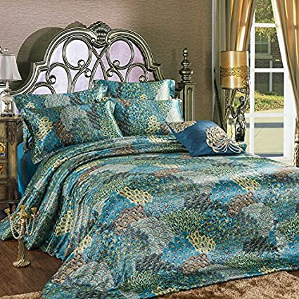FADFAY Home Textile,Peacock Feather Bedding Set,Peacock Blue Bedding Sets,Bohemian  Duvet Covers,Silk Sheets Set,4Pcs