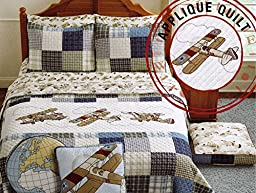 Sky Hawk Boys Bedding 2pc Twin Quilt Set Reversible Plaid Antique Vintage Airplanes Embroidered Sky Toddler Kids Quilted Cotton Bedspread Blue Red Tan