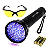 UV Black Light Flashlight Urine Detector light Finds Scorpion Pet Stain Black Lightï¼?Unique & Exclusive 2 Modes, 3 AAA Batteries & Safety Glasse