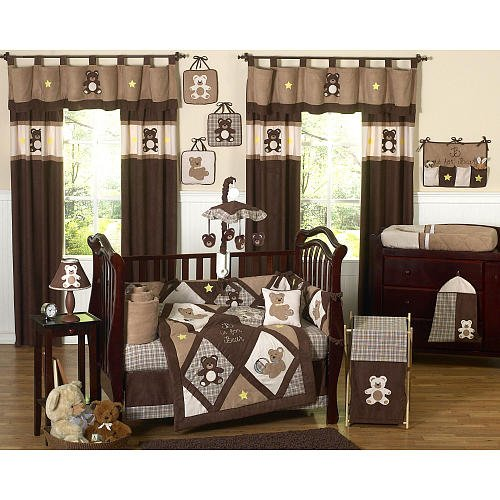 Sweet Jojo Chocolate Teddy Bear Collection 9Piece Crib Bedding Set front-222472