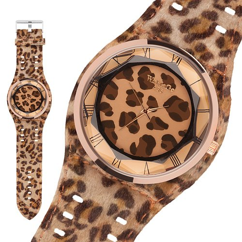 Taffstyle® Modern Frauenuhr Damen Armbanduhr Leoparden Style Damenuhr Fashion Damenarmbanduhr Analog Uhr mit Kunstleder Armband und Fell Leo Muster - Hellbraun