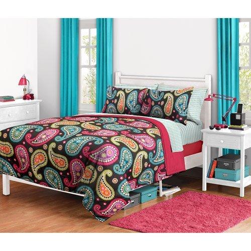 Girl Orange Aqua Teal Comforter Set Childrens Comforters