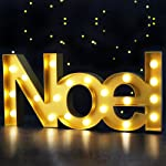 "BRIGHT ZEAL Christmas Marquee Sign ""Noel"" with Lights - LED Light up Letters for Living Room - Holiday Marquee Decor for Home, Business, Gift (Gold, 18.1"" x 8.5"" x 2.1"", Battery Included)"