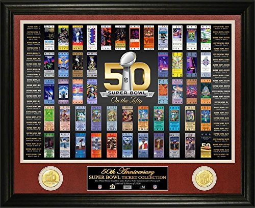 NFL Super Bowl Fifty 50th Anniversary Ticket Collection Bronze Coin Photo Mint (Nfl Super Bowl Trophy compare prices)