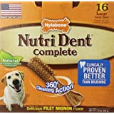 Nylabone Nutri Dent Complete Large Filet Mignon Flavored Dog Treat Bone (16 Count)