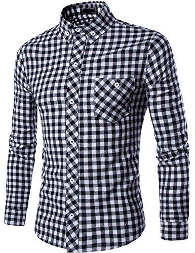 グラストア(Glestore) ギンガムチェック メンズ  ボタンダウン シャツ ブロード長袖シャツ ストレッチシャツ カジュアル おしゃれ ファッション 大きいサイズ 多色選択 レギュラーと裏起毛2タイプ S-XXXL