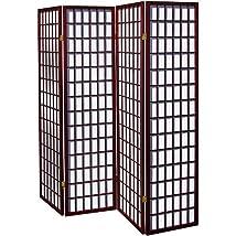 4 Panel Shoji Screen Room Divider Cherry Finish (Cherry) (71h X 70w)