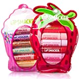 12pc Lip Smacker Cupcake & Strawberry Lovers Lip Gloss Balm Sets Tubes Holder