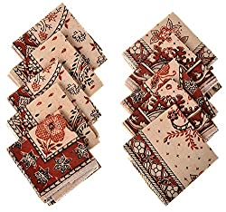 Ganesh Group Kalamkari Handkerchief (G_C_8, Multicolored, 17 cm x 17 cm)