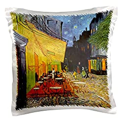 3dRose pc_155653_1 Cafe Terrace At Night x Vincent Van Gogh 1888 Restaurant French Street Painting Coffeehouse Pillow Case, 16 x 16
