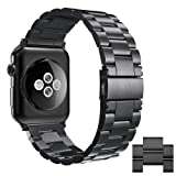 Simpeak Apple Watch 3 Band, Adjustment Stainless Steel Replacement Band for 42mm iWatch Series 1 2 3, With Link Removal Tool & 2pcs Links - Black (Color: Black 42mm(L), Tamaño: for 42mm)