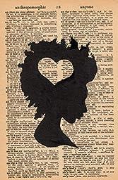 AfroLove - Linocut Print - Original Hand Printed on Dictionary Page