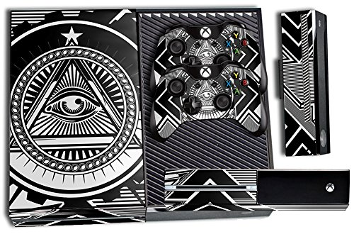 Designer-Skin-Sticker-for-the-Xbox-One-Console-With-Two-Wireless-Controller-Decals-Conspiracy-White