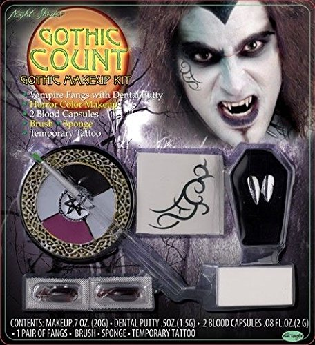 [Gothic Count Dracula Vampire Makeup Kit Fangs Paint Makeup Cosplay Halloween Set] (Count Gothic Costumes)