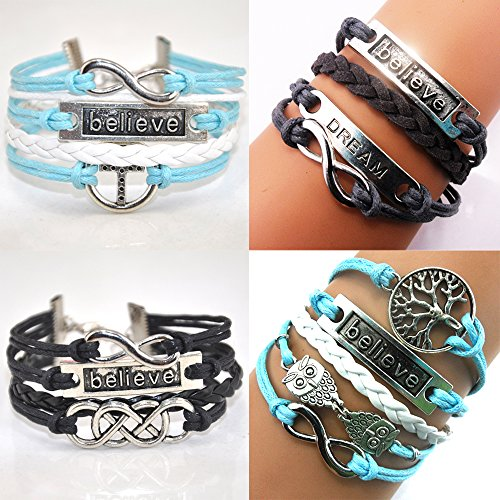 Handmade Believe Dream Wish Tree Owls Cross Charm Friendship Gift Fashion Jewelry Leather Bracelet for Women (4 Pieces/lot)