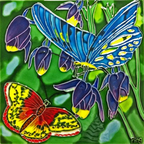 Continental Art Center BD-2010 8 by 8-Inch Blue and Red Butterfly with Purple Flower Ceramic Art Tile