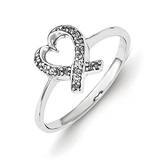 Sterling Silver Diamond Heart Ring - Ring Size Options Range: L to P