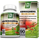 BRI Nutrition Ashwagandha - Premium Stress & Anxiety Relief w/Energy Boost & Calm, 1000mg Per Serving - 2 Vegetarian Vegetable Capsules (90 Count)