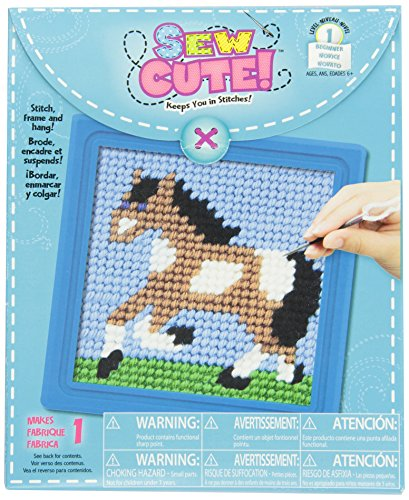 Colorbok Horse Learn To Stitch Needlepoint Kit, 6-Inch by 6-Inch, Blue Frame - 1