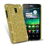 Gold Sparkle Glitter Hard Case Cover for LG Optimus 2X P990 LG Optimus 2X P990 Case Ultra-Slim Glamour Sequins Cover [For Her] Rigid Fit Lightweight Tough Shell-Style Clip-on