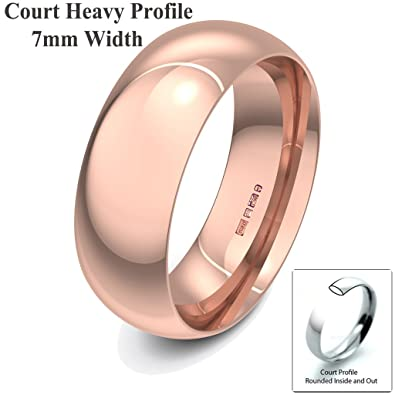 Xzara Jewellery - 9ct Rose 7mm Heavy Court Profile Hallmarked Ladies/Gents 8.4 Grams Wedding Ring Band