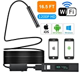 Yugoo WiFi Endoscope 1200P HD WiFi Borescope Inspection Camera 2.0MP, IP68 Waterproof Semi-Rigid Flexible Snake Camera 8mm Lens iOS Android, iPhone, Samsung, Tablet- New Version16.5FT (Color: Black-1, Tamaño: xl1)