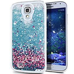 Galaxy S4 Case, ikasus Galaxy S4 [Liquid Bling] Case, Creative Design [Flowing Liquid] Floating Luxury Bling Glitter Sparkle Stars Hard Case for Samsung Galaxy S4 SIV i9500,Blue Love Heart