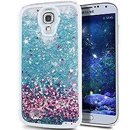 Galaxy S4 Case, ikasus Galaxy S4 [Liquid Bling] Case, Creative Design [Flowing Liquid] Floating Luxury Bling Glitter Sparkle Stars Hard Case for Samsung Galaxy S4 SIV i9500,Blue Love Heart