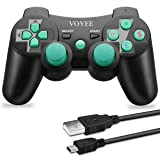 VOYEE PS3 Controller Wireless - Rechargable Remote Control/Gamepad with Charging Cable for Sony Playstation 3 (Black & Green) (Color: Black & Green)