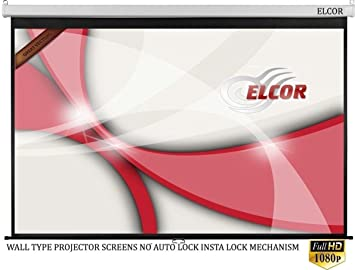ELCOR Wall type Pull down Spring action projector screens 8ft width x 6ft height In Auto Roll Back System( Comes with Imported matte fabric with 1080P, 3D and 4K Technology)   No auto lock/ Insta-lock at amazon