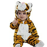 Tonwhar Unisex-Baby Animal Onesie Costume Cartoon Outfit Homewear (120:Ages 30-36 Months, Tiger) (Color: Tiger, Tamaño: 120:ages 30-36 months)