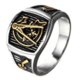 Oakky Men's Vintage Masonic Freemason Stainless Steel Ring Symbol Signet Band Silver Gold Size 11 (Color: silver gold)