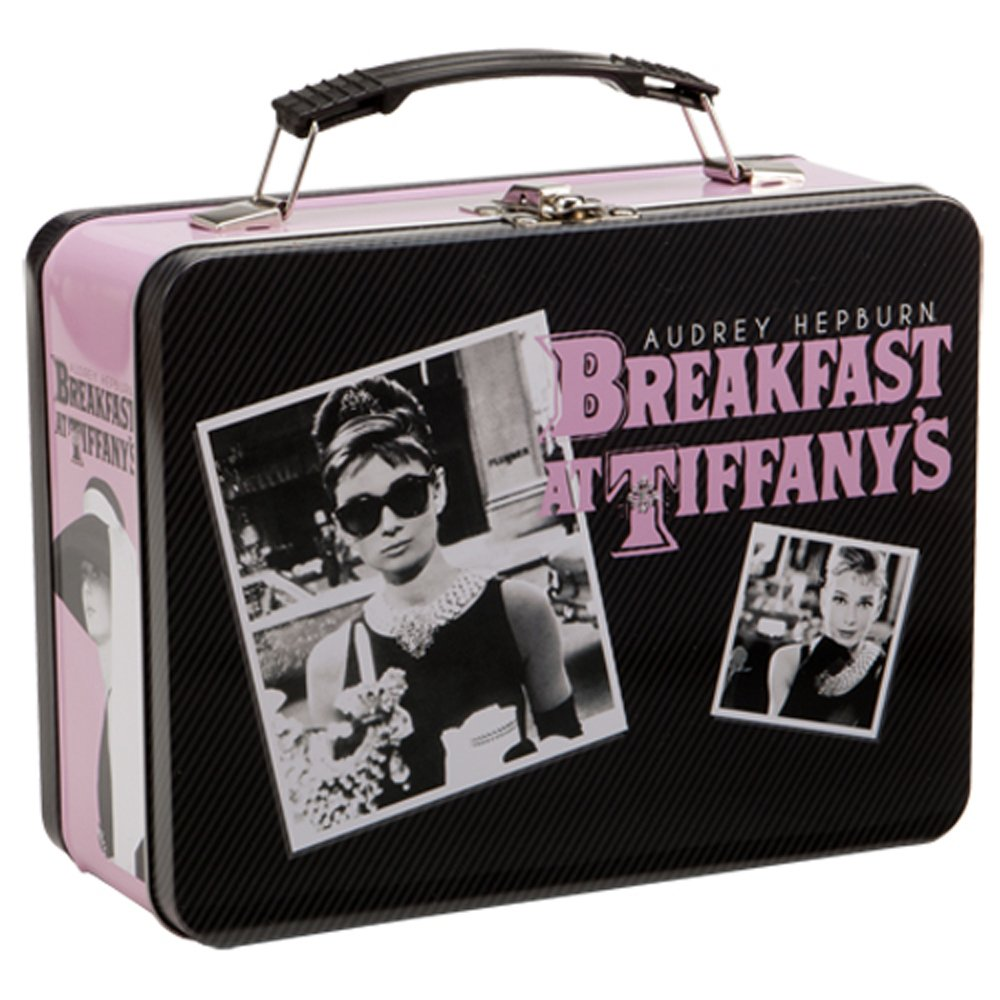Vandor Audrey Hepburn Breakfast at Tiffany's Large Tin Tote, 7 by 9 by 3-1/2-Inch, Black, Pink and White 0