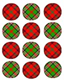 12 Mixed Tartan Cupcake Toppers ricepaper 40mm toppers pre cut decoration