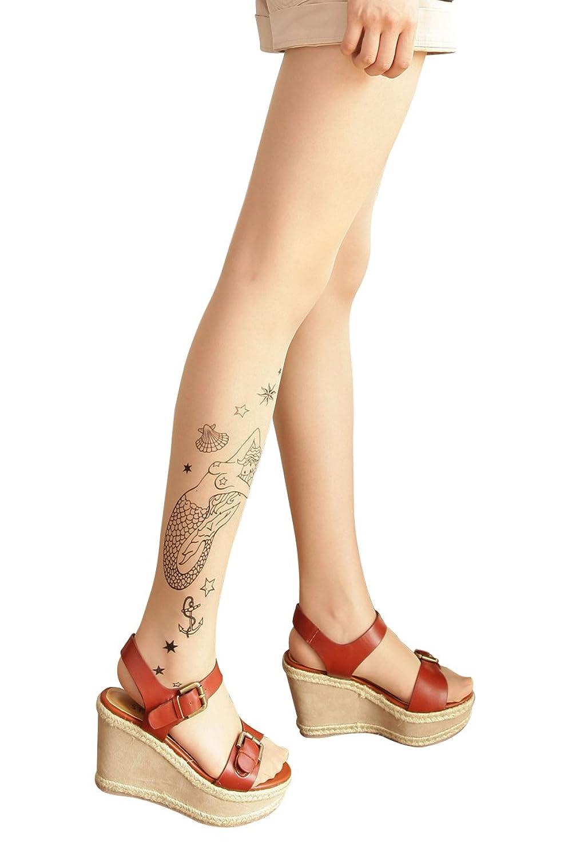 c53a4a9d6dcb0 タトゥータイツ(マーメイド柄)☆♪20デニール☆右足に柄入り タトゥーストッキン