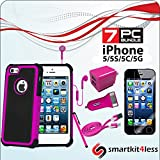 I Phone 5/ 5s/ 5g 7 Pcs Accessory Light Pink Bundle, Premium Rugged Case, Dual Usb Lighting Car Charger, Dual Usb Home Charger, Screen Protector, Stylus Pen, Usb 2.0 Data Cable, Stereo Earphones.GET 7 PRODUCTS FOR THE PRICE OF ONE OR TWO! thumbnail