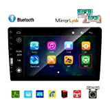 Double Din Car Stereo 9'' HD Touch Screen MP5 Player Bluetooth FM Auto Radio Car Multimedia Player with Rear View Camera Support Mirror Link USB Aux in Subwoofer Output Steering Wheel Control