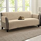 """Quilted Microfiber Pet Dog Couch Sofa Furniture Protector Cover, Kashi, 5 Colors, 3 Sizes (Sofa, Beige), 110"""" x 71"""""""