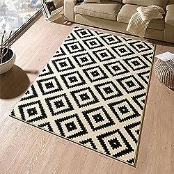 Designer Velours Teppich Raute Schwarz Creme | 102332, Größe:80x300