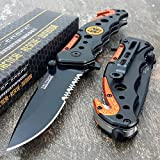 TAC-FORCE KNIVES Assisted Opening Rescue Knives BLACK ORANGE EMT Tactical Knife