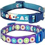 Blueberry Pet 3/8-Inch The Bold Round Star Designer Basic Polyester Nylon Puppy Dog Collar, X-Small, Dark Radiant Orchid