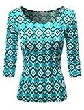 SJSP Women Long Sleeve Crew Neck Allover Printed Stretchy Slim Fitted Top