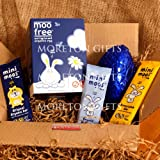 Moo Free Easter Treat Box - Moo Free Easter Egg, Mini Moos BunnyComb Bar, Mini Moos Original Bar, Mini Moos Organic Bunny Bars- By Moreton Gifts