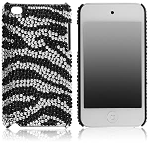 MYBAT Unique Diamante Protective Case for iPod touch 4 (Black Zebra Skin)